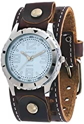 Nemesis #BSTH096W Men's Brown Wide Leather Cuff Band Sporty White Dial Watch