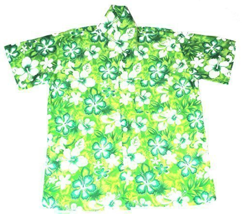 Happy Hawaiian Hut - Kinder Hemd Hawaii Blumen Motiv Jungen Mädchen - L 7-8 Jahre, Grün