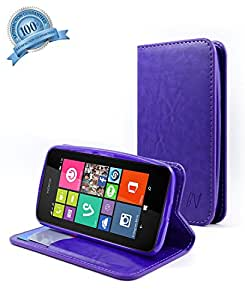 Nokia Lumia 530 case - NageBee - Wallet Flip Fold Case Pouch Cover Fold Stand case Premium Leather Wallet Flip Case for Nokia Lumia 530 case (Flip Fold Wallet Purple)