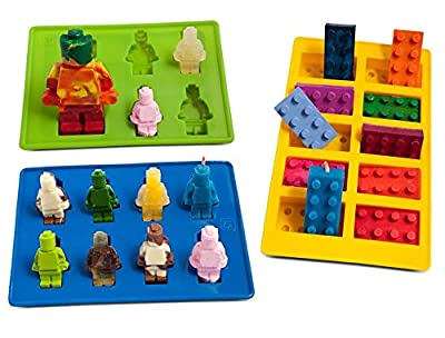 Joyoldelf Kitchen For Building Bricks Lovers - Value Set Of 3 Silicone Molds, Including One Building Bricks Mold, One Large size Mini Figure Mold And One Small Size - Use For Ice Cube, Chocolate, Candy, Soap, Candle, Jello, Crayons Making - 100% Food Grad