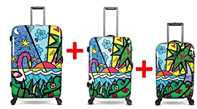 Heys USA - 3pcs. - SET 100 GBP Discount - Britto Palm, High-quality designer artist luggage set - 55 cm hand luggage, 66 cm and 76 cm 4-wheels Trolley from Heys USA