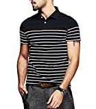 #8: Fanideaz Branded Men's Half Sleeve Cotton Black and White Striped Polo T Shirt