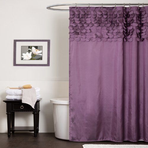 Lush Decor Lillian Shower Curtain, 72-Inch by 72-Inch, Purple