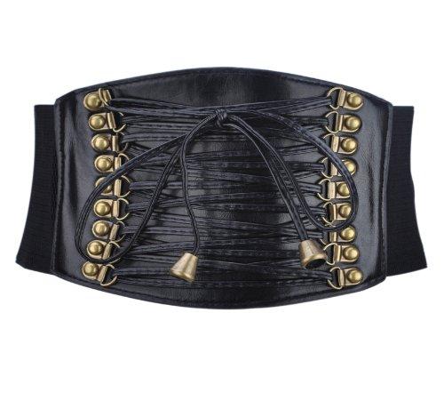 "TopTie Retro Style 4"" Wide Elastic Corset Waist Belt - Black"