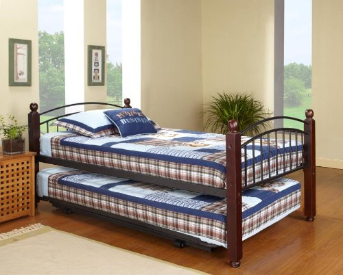 click for 39 twin size cherry finish wood metal day bed frame - Hi Riser Bed Frame