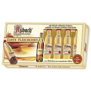 Asbach Uralt Brandy 8 Filled Bottle Shaped Chocolates with Sugar Crust in Window Gift Box - 100g/3.5oz
