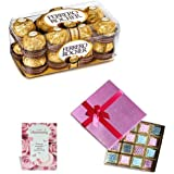Anniversary Greeting Card, 16 Pcs Ferrero Rocher & Surprise Chocolate Pack 16 Pcs