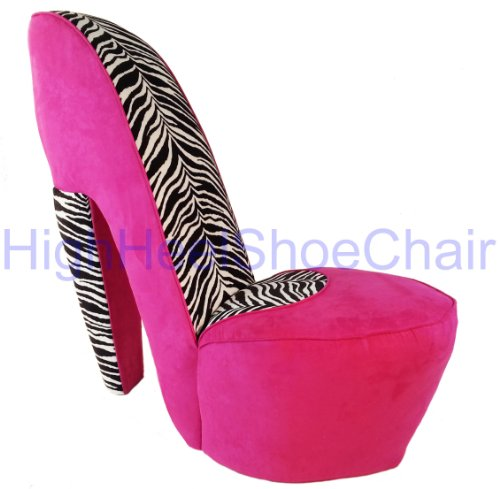 zebra and pink high heel shoe chair