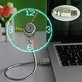 Tenflyer New LED USB Fan Clock Mini Flexible Time with LED Light - Cool Gadget