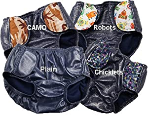 "SOSecure Resuable Swim Diaper for Children Aged 2 to 12, Sizes XS - XL, Fun Patterns (Medium (22-24""), Chicklets) by Discovery Trekking"