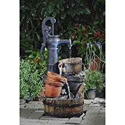Fountain, Outdoor Fountains, Garden Fountain, Weatherproof Water Pump Fountain LED Lighted Constructed From Durable Resin And Fiberglass - Assembly Required