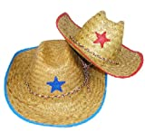 Dozen Child Straw Cowboy Hats With Plastic Star (1 DOZEN)