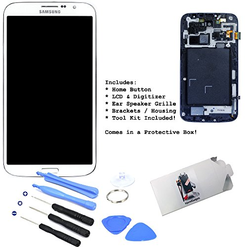 """White Lcd Display Touch Screen Glass Panel Digitizer Assembly Housing Frame Repair Part For Samsung Galaxy Mega 6.3"""" I527 I9200 I9205 front-219625"""