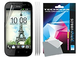 TECHGEAR® **PACK OF 3** CLEAR LCD Screen Protector Guards with Cleaning Cloth For HTC One SV