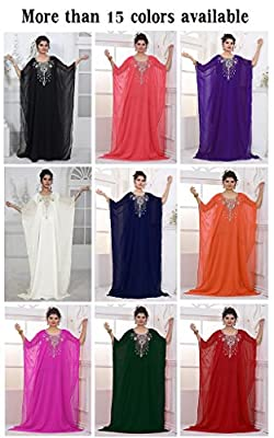 IndianAttire Women's Dubai Kaftan Caftan Farasha Abaya Jilbab Maxi Dress FREE SZ
