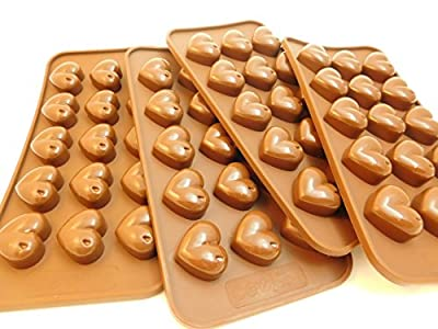 4 Heart Candy Molds, Silicone, Great for Wedding Mints, Valentine Candies, Ice Cubes, Gummies, Crayon melts, filled Candies and More