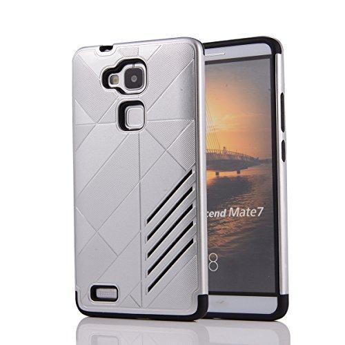 Huawei Ascend Mate 7 Custodia, Moonmini® 2 in 1 ibrida combinata Body Armor TPU con PC Custodia Cover per Huawei Ascend Mate 7 - Argento