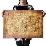 Meily オシャレな インテリアに アンティーク風 世界地図 宝の地図 クラフト紙 50×70cm