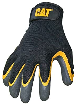 CAT Black latex coated palm glove with grey shell