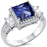 Princess Cut Simulated Simulated Tanzanite & Cubic Zirconia .925 Sterling Silver Ring Sizes 5-10