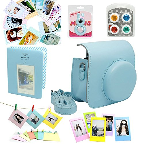 CLOVER Fujifilm Instax Mini 8 Instant Camera Accessory Bundles Set Case Bag/ Album/ Close-Up Lens / Wall Hanging Frame/ Photo Frame/ Sticker Borders - Blue
