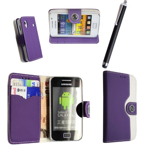 STYLEYOURMOBILE {TM} SAMSUNG GALAXY ACE S5830 VARIOUS DESIGN CARD POCKET HOLDER PU LEATHER MAGNETIC FLIP CASE COVER POUCH + FREE STYLUS (Purple and White Book Flip)