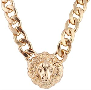Gold Metal Lion Head Pendant with a 20 Inch Adjustable Thick Miami Cuban Chain Necklace