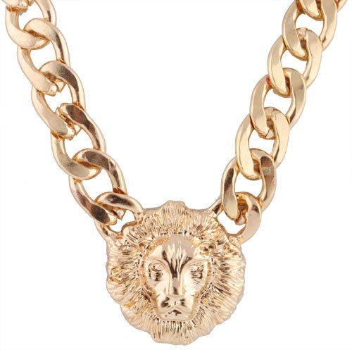 Gold Metal Lion Head Pendant  a 20 Inch Adjustable