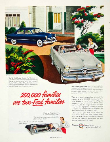 1950-ad-ford-fordor-sedan-convertible-big-driveway-women-drive-transportation-original-print-ad