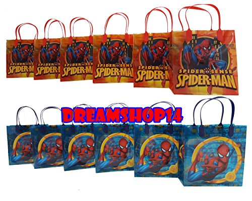 """Spiderman Party Favor Goody Gift Bag - 8"""" Medium Size (12 Bags)"""