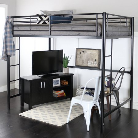 Premium Full Size Black Metal Loft Bed (Loft Beds Full compare prices)