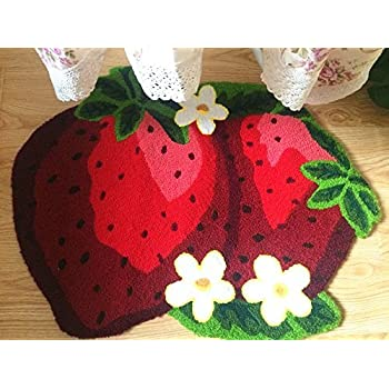 "Abreeze Anti Skid Toilet Red Rug Strawberry Kids Rug Colorful Handmade Floor Mats Non-slip Princess Rugs, 31""x23"""