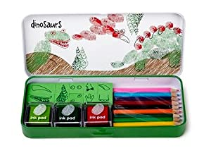 Finger Printing Dinosaurs Ink Pad, Pencils & Stamps Gift Set