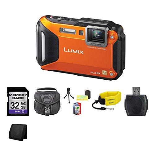Panasonic Lumix DMC-TS5 Digital Camera (Orange) 32GB Package bcm13 1250mah li ion camera battery for panasonic dmc zs30 ts5 white