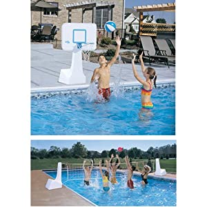 Buy Dunnrite PoolSport 2 in 1 Swimming Pool Basketball Hoop and Volleyball Combo Set by Dunn Rite