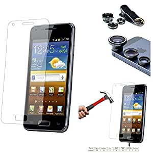 Qualitas Pack of 4 Tempered Glass for Samsung Galaxy Grand Quattro i8552 + 3in1 Fisheye Wide Angle and Macro Lens