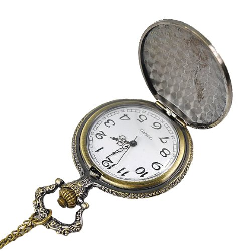 Eeleva Steampunk Bronze Engraved Starmoon Electronic Pocket Watch