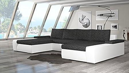 """Moderne Wohnlandschaft """"Marino"""" mit Schlaf-Funktion. Couch mit robustem Kunst-Leder und Webstoff-Bezug sowie komfortabler Wellenunterfederung. Zeitloses Eck-Sofa (Farbe wie abgebildet)"""