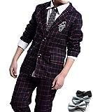 [笑顔一番] 男の子 チェック柄 フォーマル スーツ 上下2点 + 蝶ネクタイ セット / 入学式 結婚式 発表会 ブライダル 七五三 記念日 キッズ ボーイズ (サイズ: 120 ~ 160 ) [A145-11] レッド格子 150cm