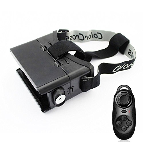 GOODO® VR Virtual Reality 3D Video Movie Game Glasses Helmet Headset with Magnet For 4~6 inch Smartphones iPhone 6 plus 6 5s 5c 5 Samsung Galaxy S5 S4 Note 4 Note 3 Blackberry HTC Sony LG IOS Android cellphones, Adjustable Focal Distance and Pupil Distance, Elastic Band Headband with Multi-functional Wireless Bluetooth Controller Gamepad Mouse