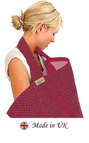 BebeChic-Top-Qualitt-aus-100-Baumwolle-Stillen-Abdeckung-mit-Entbeinen-Aufbewahrungstasche-rotwein-wei-punkt