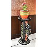 Home Decorative Elephant Design Handpainted Wooden Pillar & Planter Stands For Garden 15 X 12 X 24 Inches