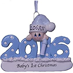 Personalized Baby's First Christmas Ornament 2016 - Blue/boy - Free Personalization ...