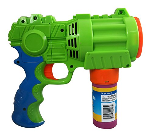 PROUDLY PRESENTS BY RAINBOW BUBBLES. Bubble Gun, Extreme Bubble Blowing Blaster, Large, Motorized, Rainbow Bubbles