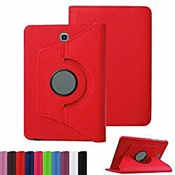 TGK Leather 360 Degree Rotating Case Cover Stand for Samsung Galaxy Tab S2 8.0 Inch SM T710 T715 T715N - Red