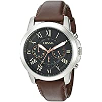 Fossil FS4813 Grant Chronograph Brown Leather Mens Watch (Black Dial)