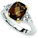 Sterling Silver 14K Gold Smoky Quartz & Topaz Ring Sz 8