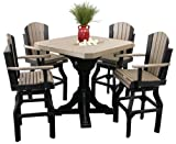 Outdoor Classic Polywood Bar Table and 4 Swivel Bar Chair SET - *DOVE GRAY/BLACK* Color
