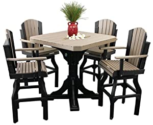 Outdoor Classic Polywood Bar Table And 4 Swivel Bar Chair