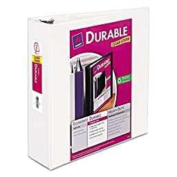 6 Avery Durable Vinyl EZ-TURN Ring View 3-Ring Binders, 11 x 8-1/2, 3 Capacity, White, EA - AVE17042